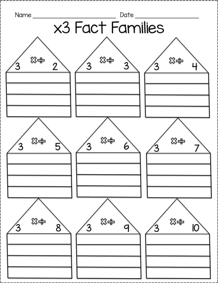 Free printable first grade math fact family worksheets