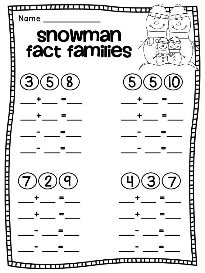 fact family worksheets for first grade snowman