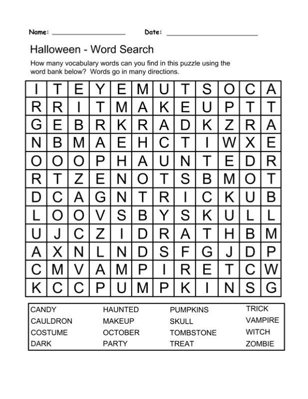 free puzzle worksheets halloween