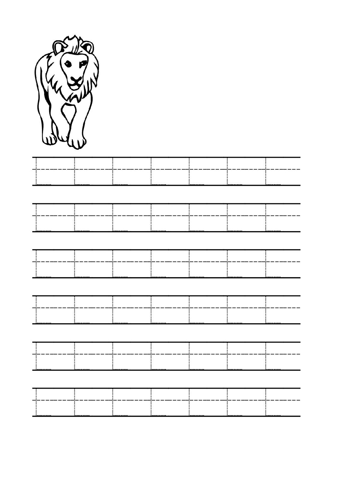 free traceable alphabet lion
