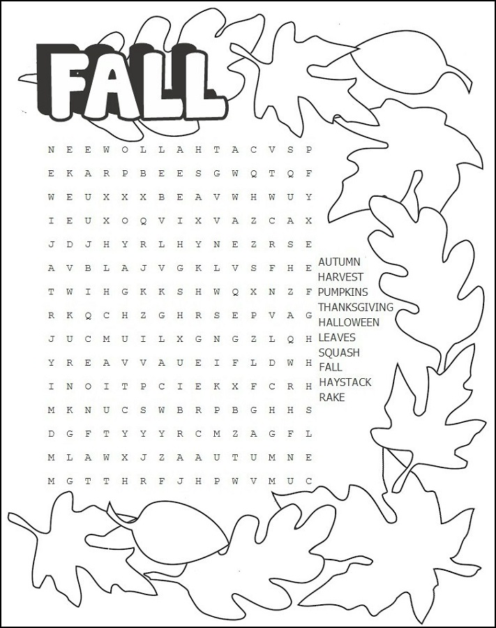 free word search puzzles for kids fall