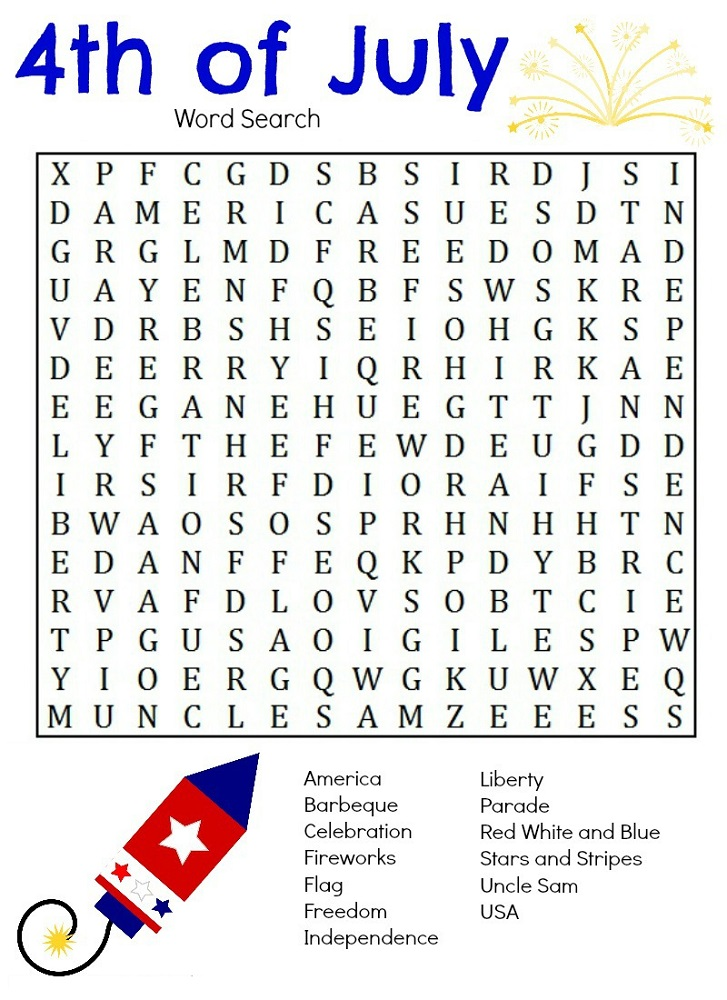 free word search puzzles for kids july