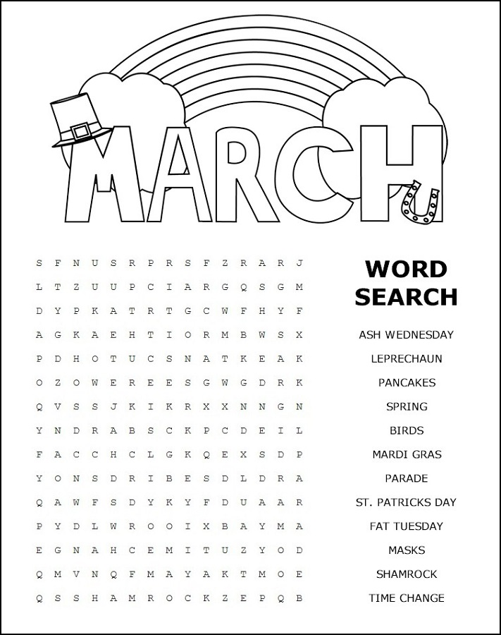 free word search puzzles for kids march