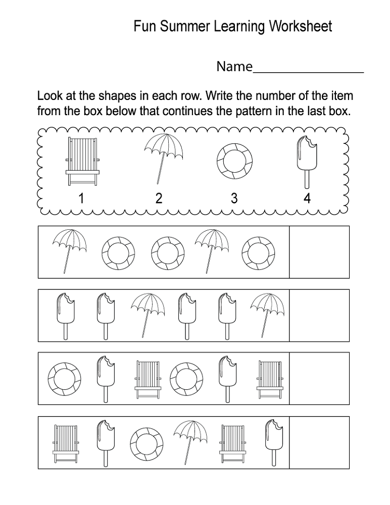fun work sheets pattern