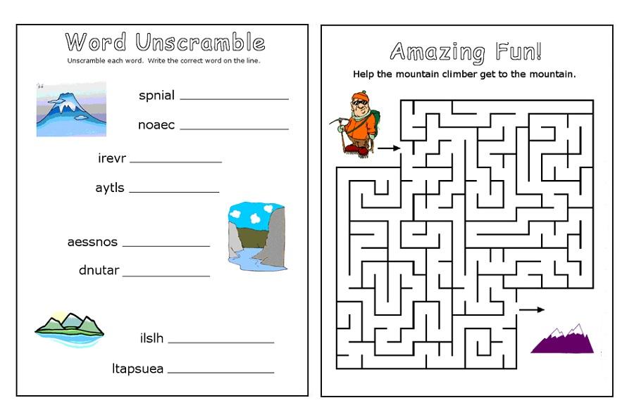 fun work sheets printable