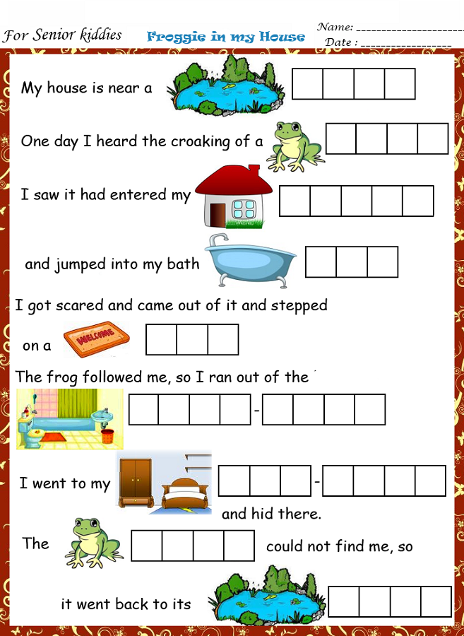 fun work sheets story