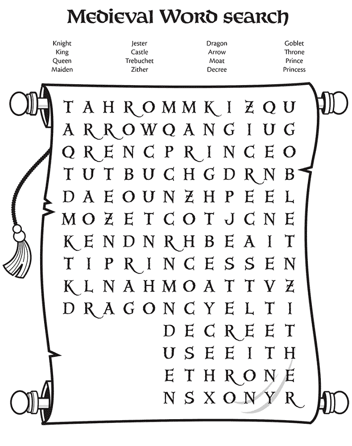 medieval activities for kids wordsearch