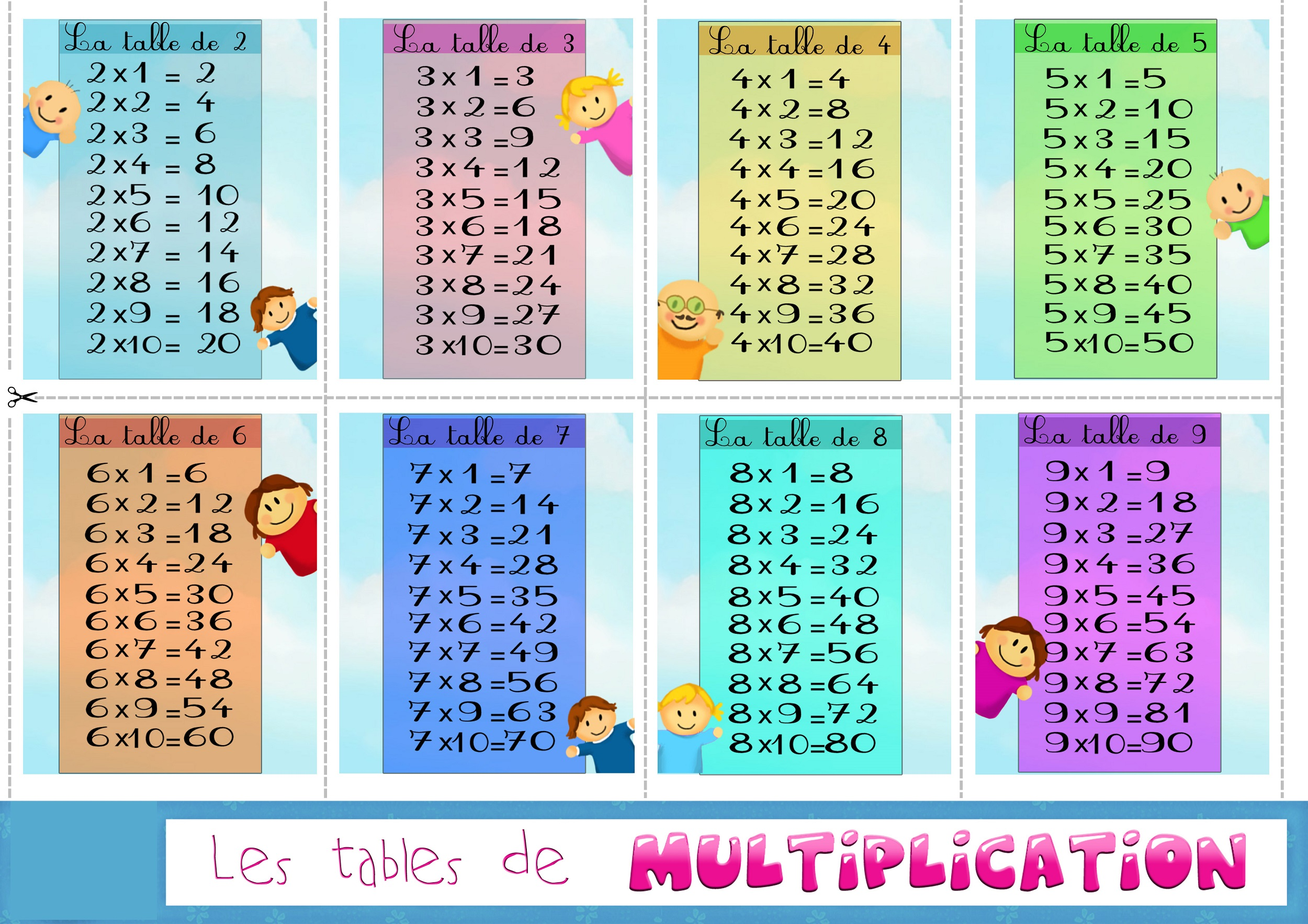 Printable colorful times table charts activity shelter for Les table de multiplications