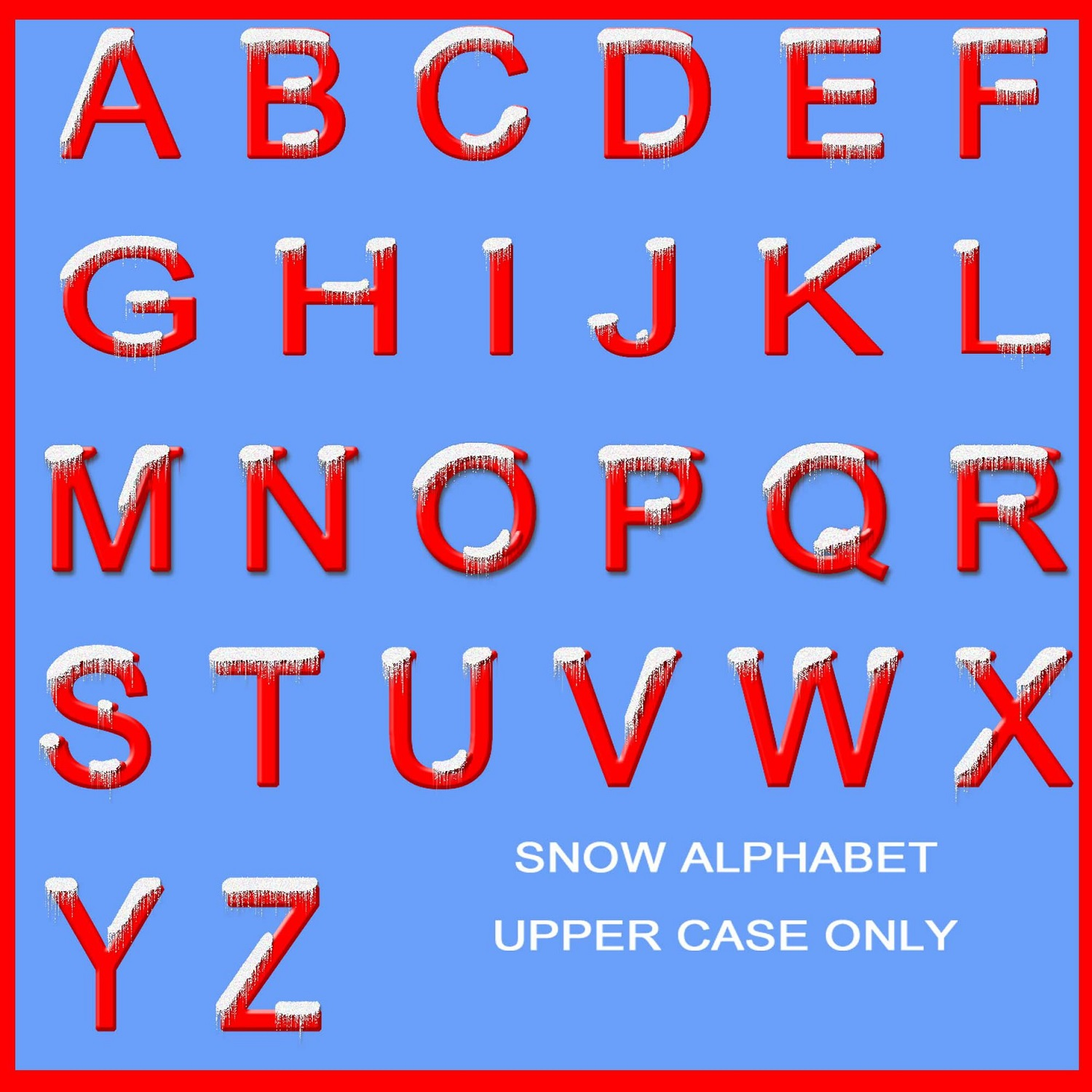 upper case alphabet red