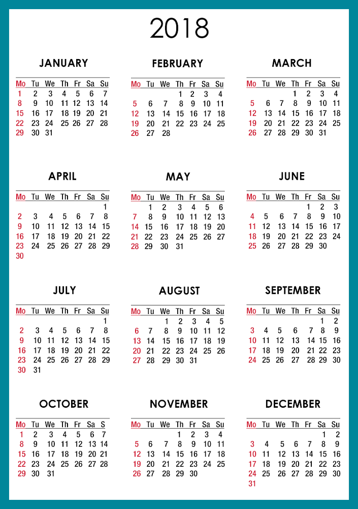 yearly calendar 2018 printable 12 months