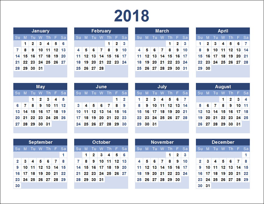 yearly calendar 2018 printable all months