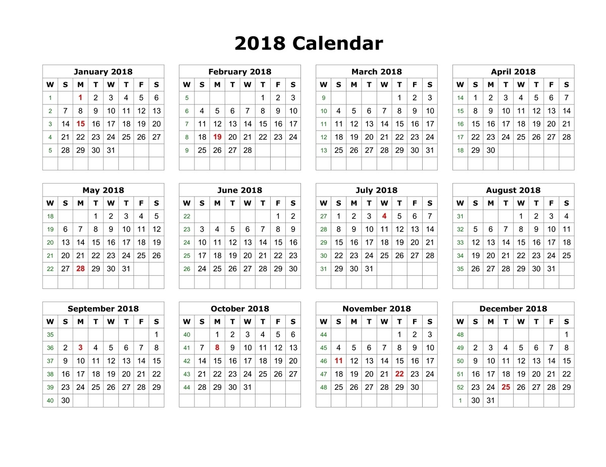 yearly calendar 2018 printable free