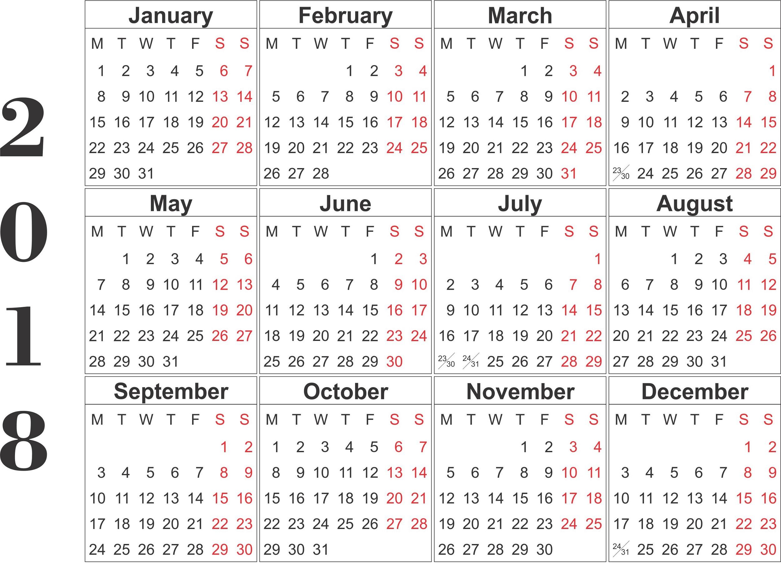Calendar Large : Yearly calendar printable activity shelter