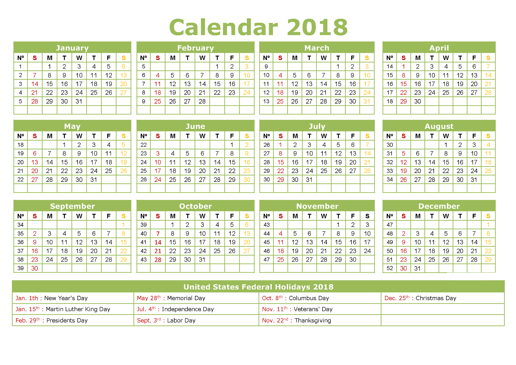 Year Calendar To Download : Yearly calendar printable activity shelter