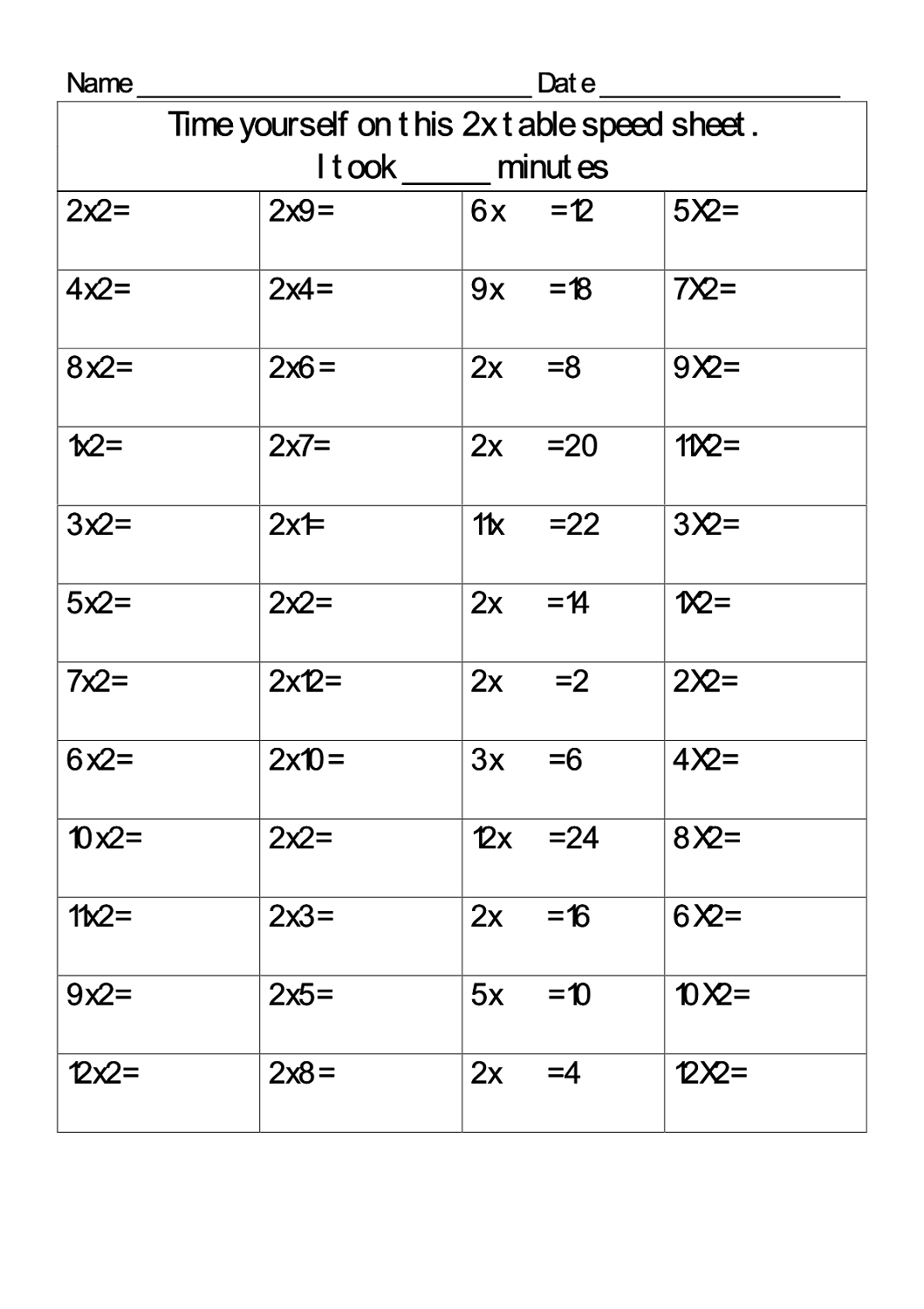 2 times table worksheets large