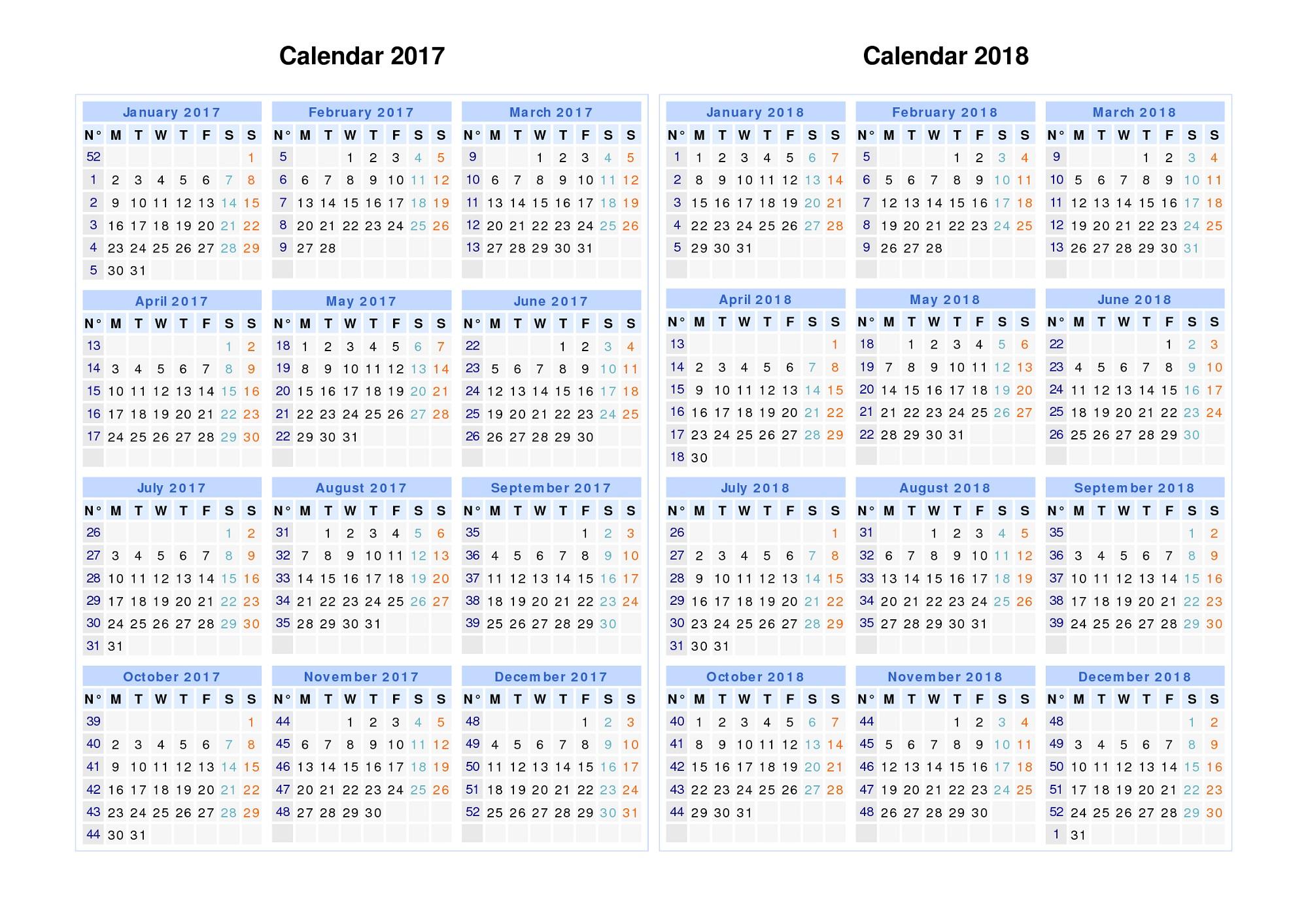 2017-2018 printable calendar best