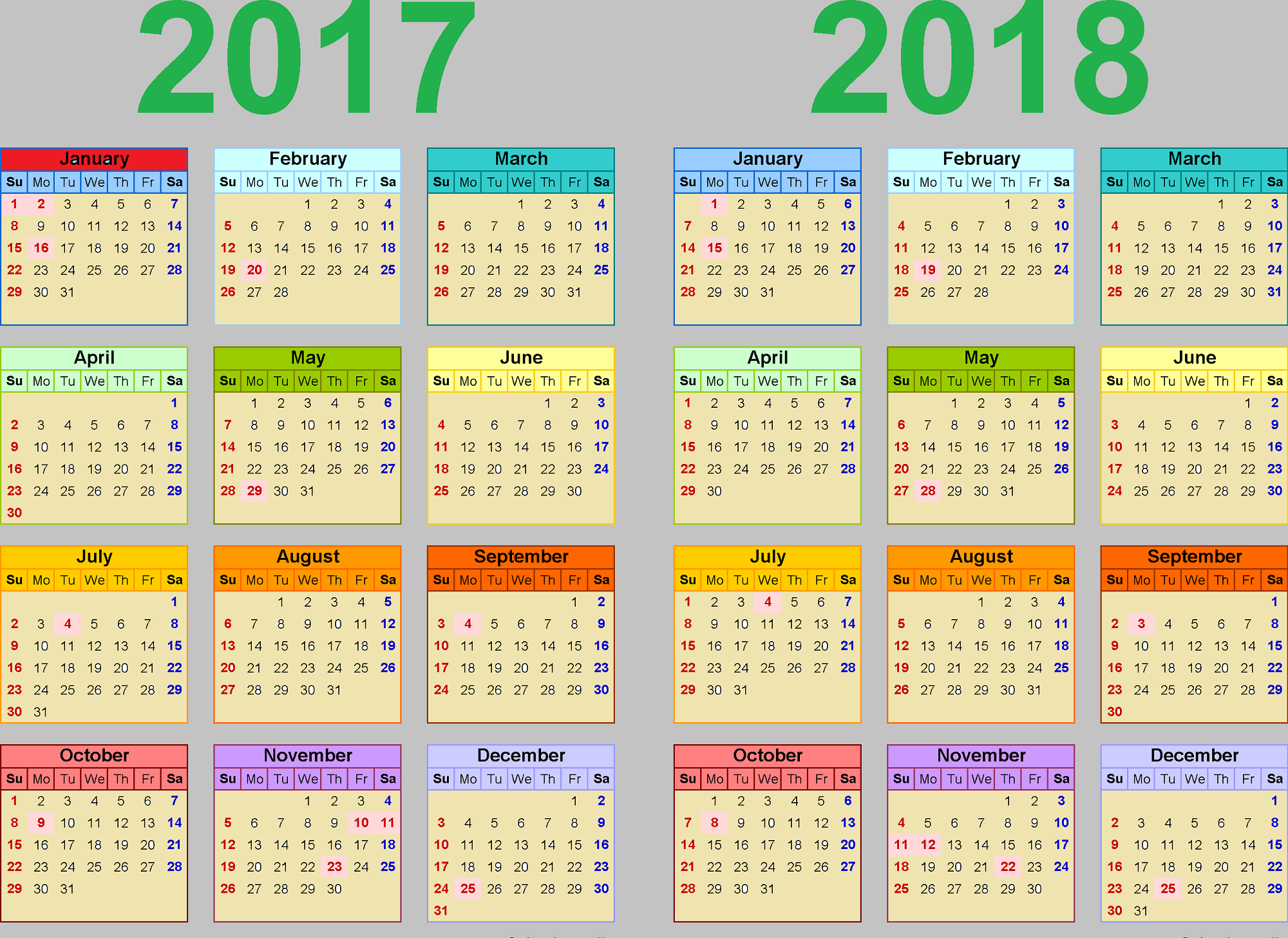 2017 2018 Printable Calendars Activity Shelter