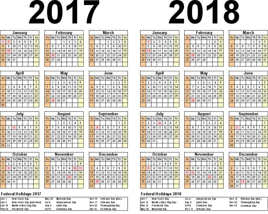 2017-2018 printable calendar holidays
