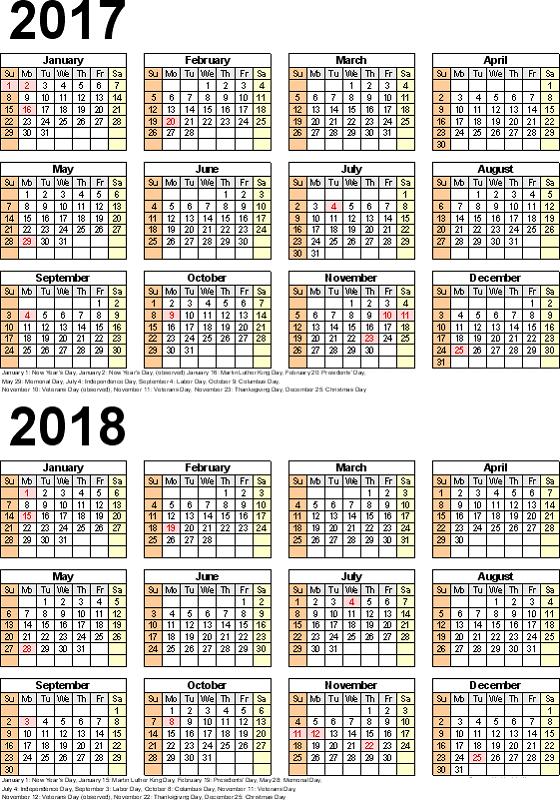 2017-2018 printable calendar potrait