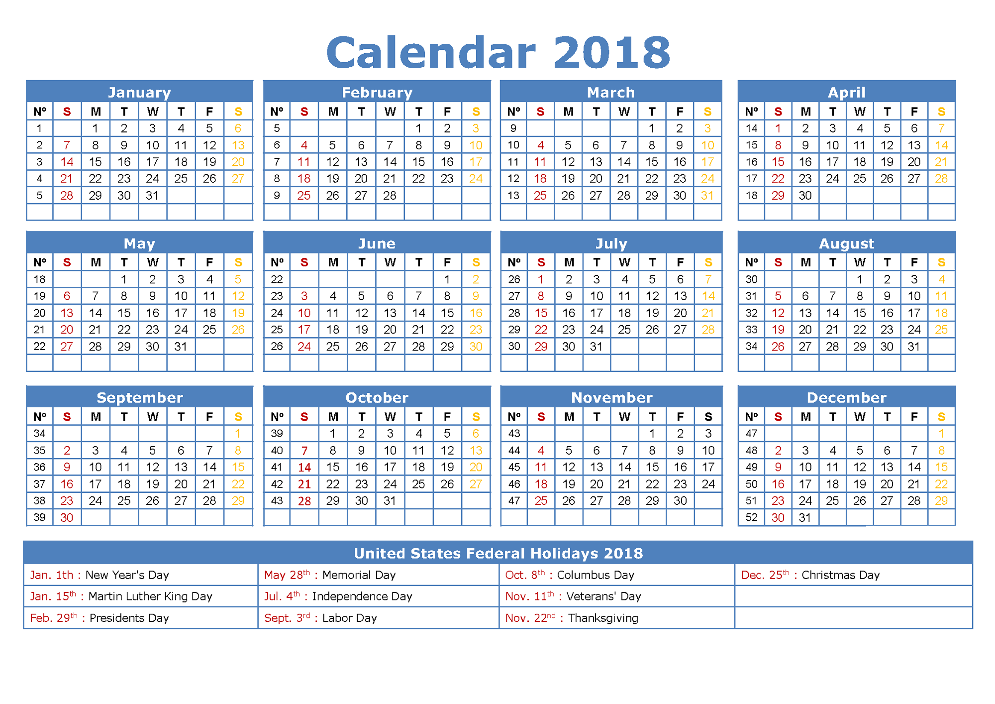 2018 Yearly Calendar With Holidays blue