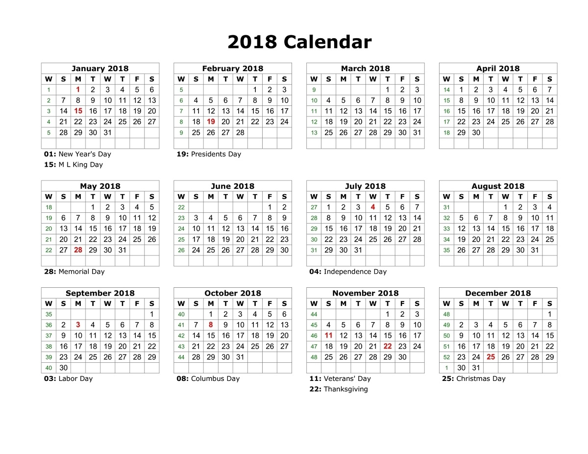2018 Yearly Calendar With Holidays free