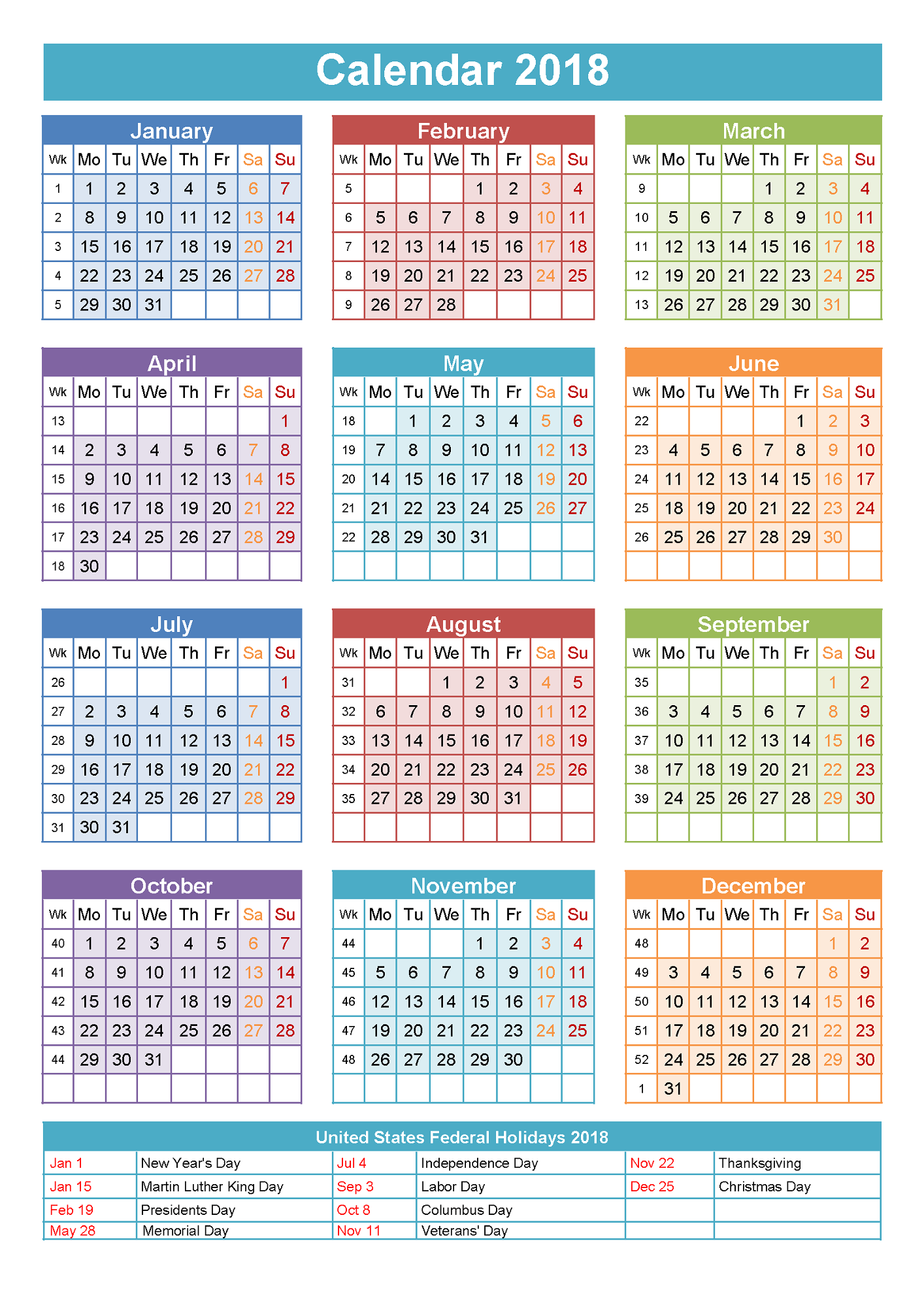 Calendar Activities 2018 : Yearly calendars with holidays activity shelter