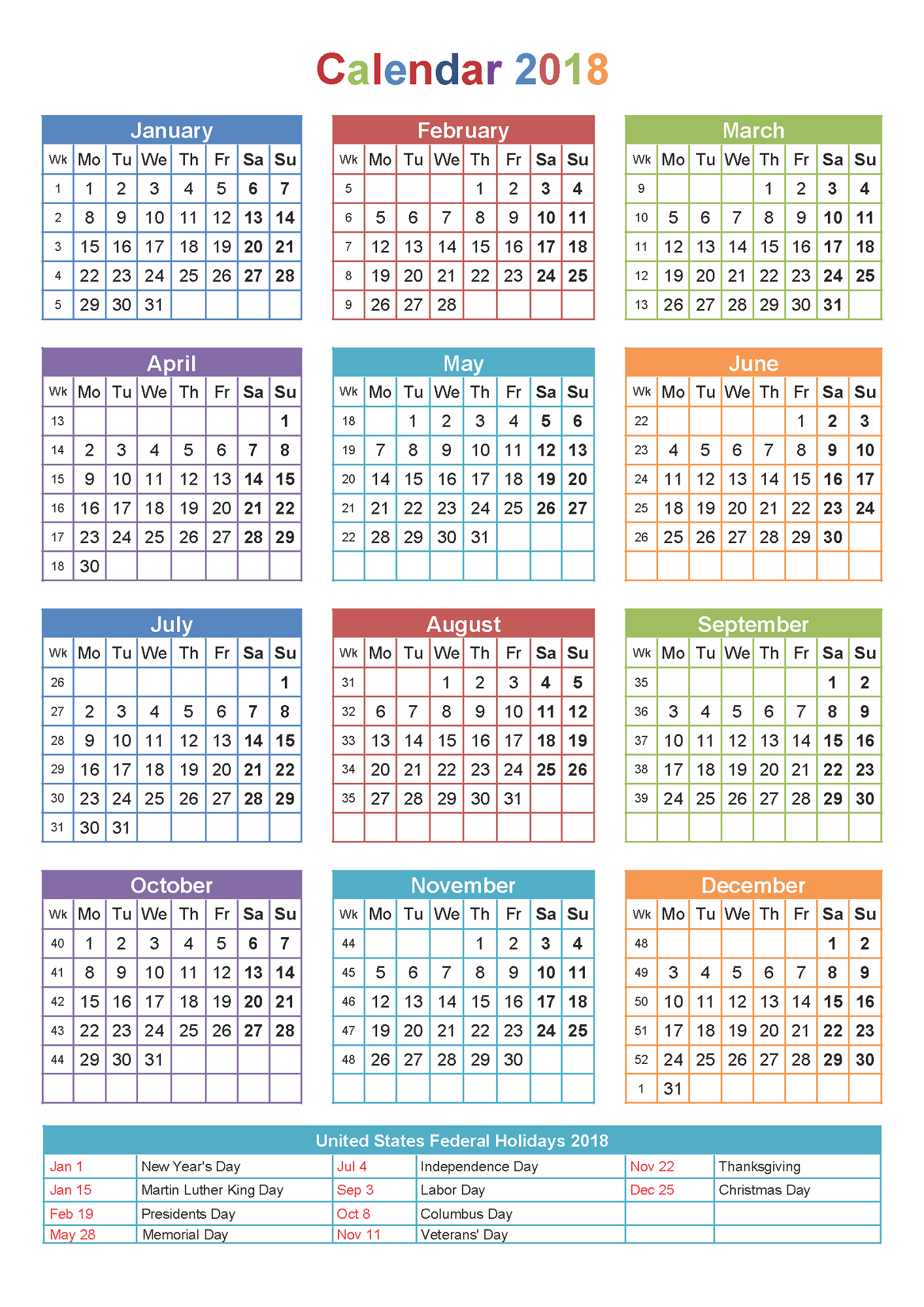 2018 yearly calendars with holidays