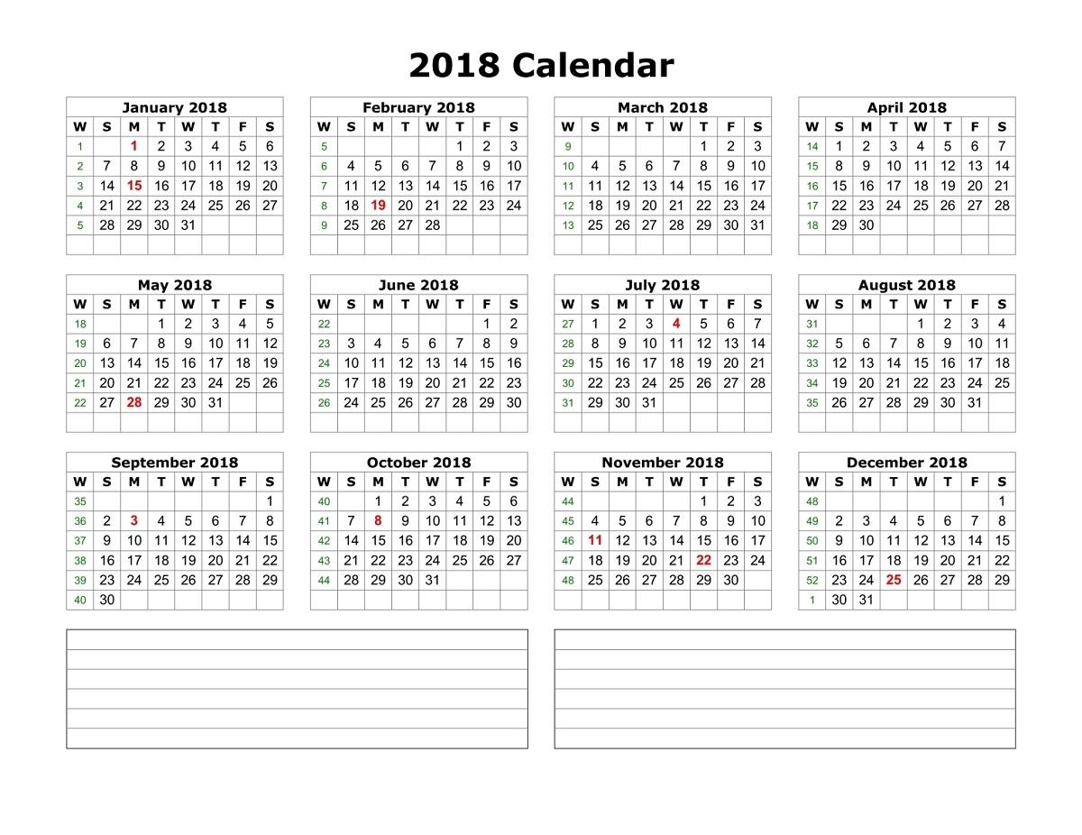 2018 calendar printable blank