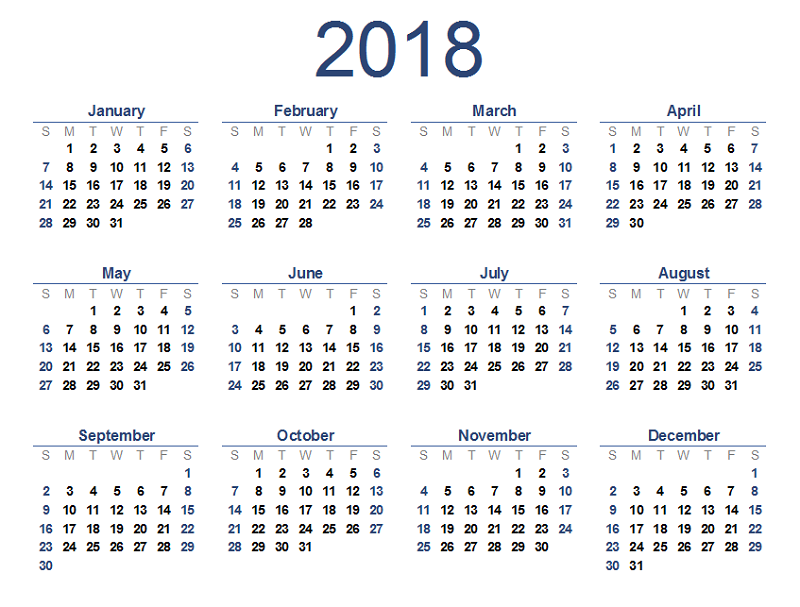 2018 calendar printable blue