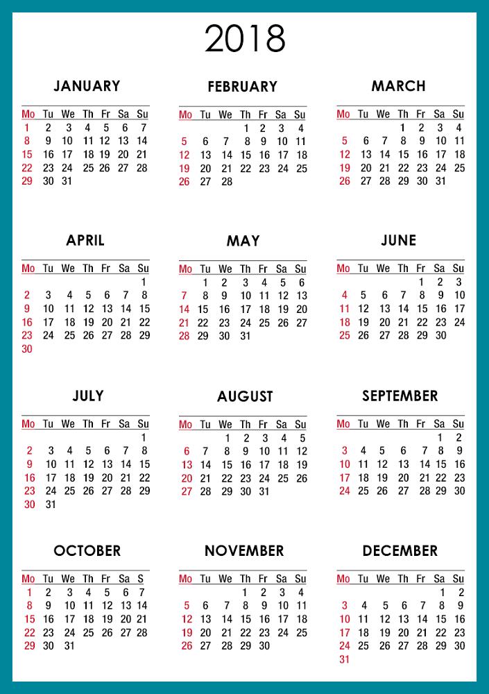 2018 calendar printable free