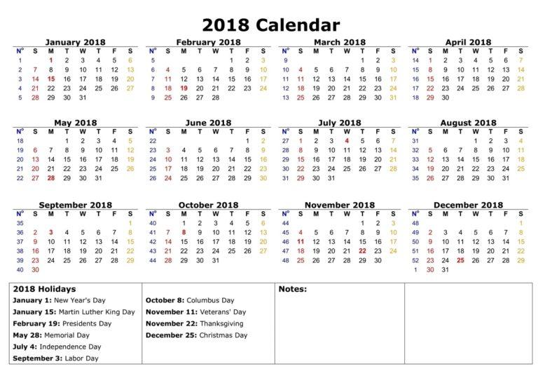 2018 calendar printable holiday