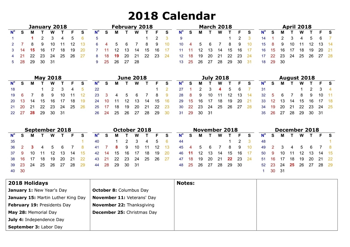 2018 calendar printable holiday