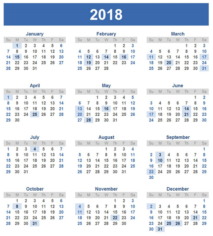 2018 calendar printable large