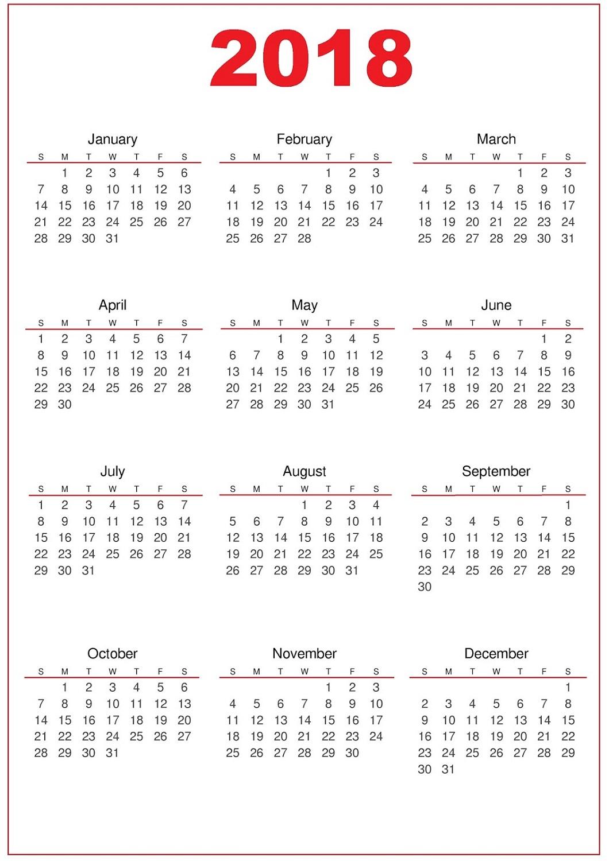 2018 calendar printable simple