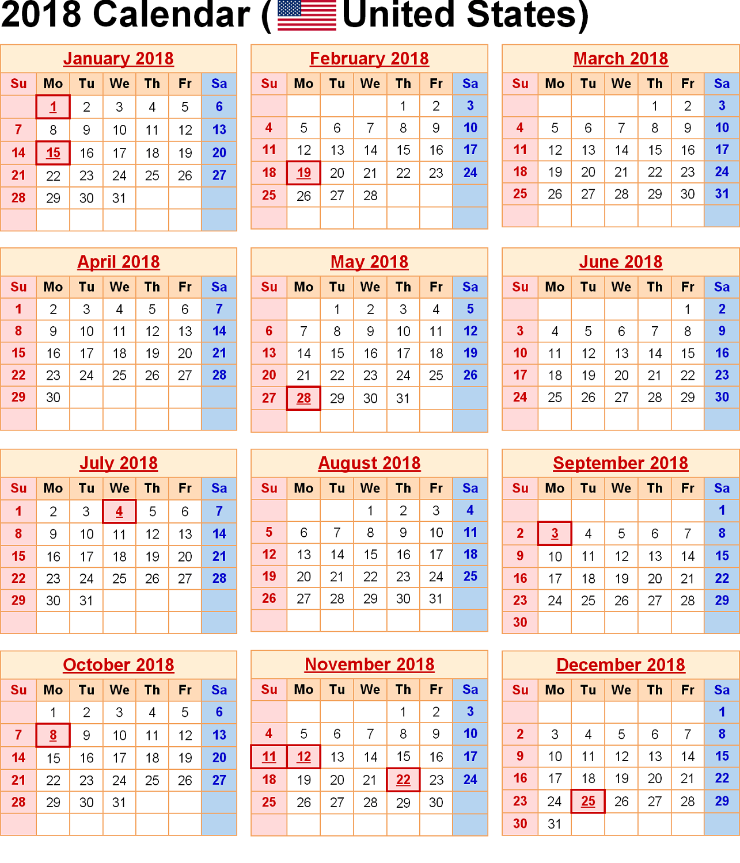 2018 calendar printable usa