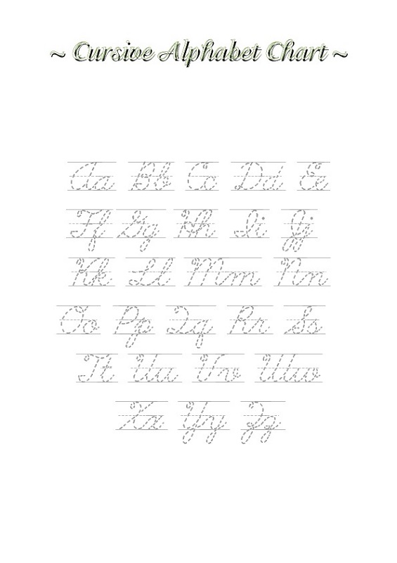 alphabet tracing cursive
