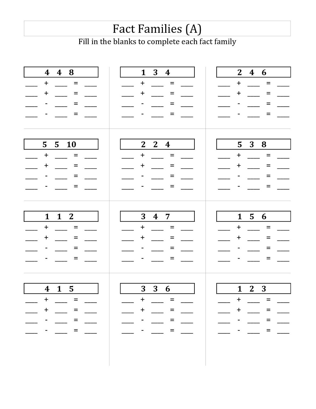 Workbooks it family worksheets : First Grade Fact Family Worksheets | Activity Shelter