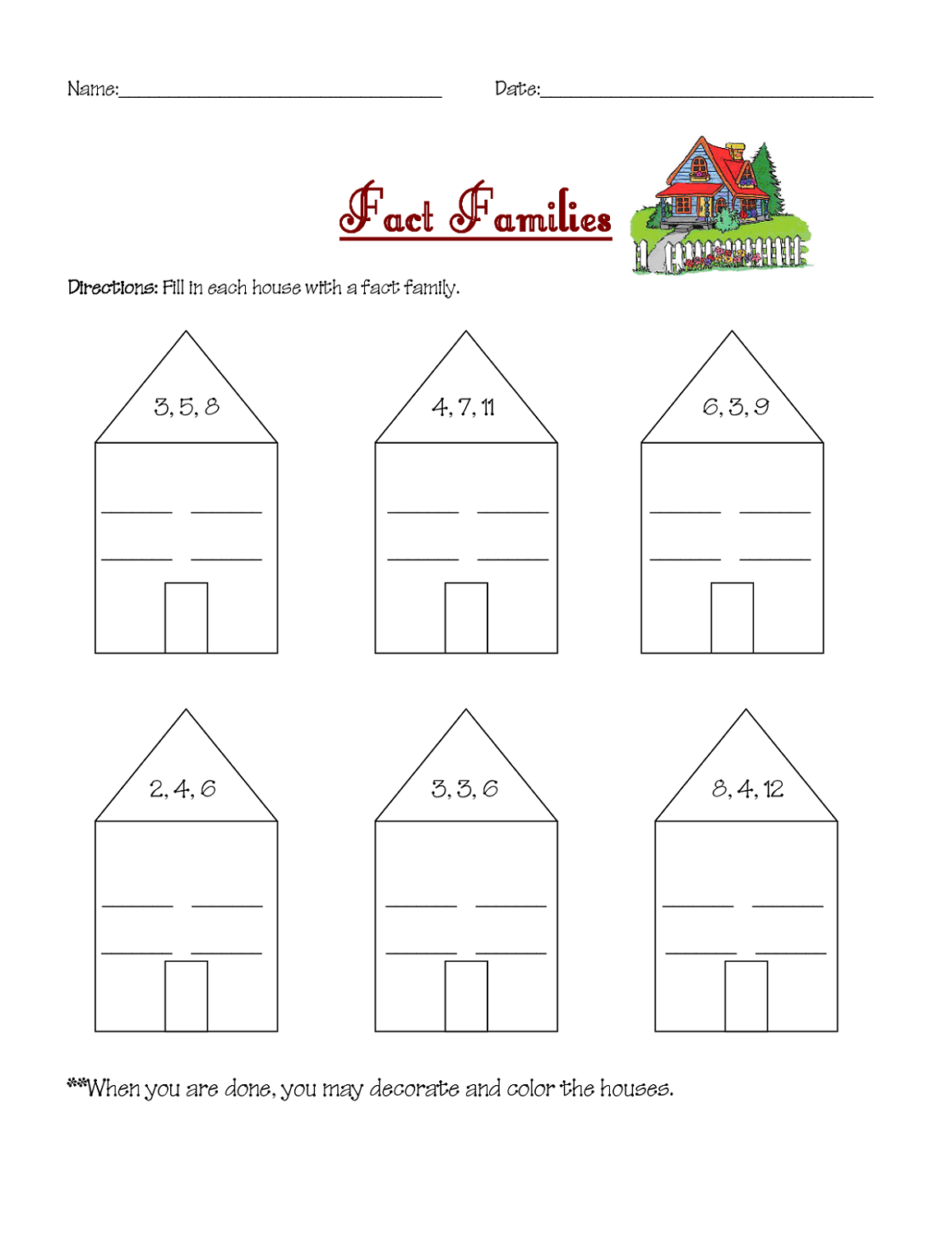 Fact family worksheets first grade
