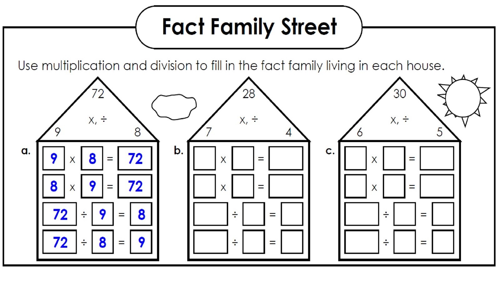 math fact families worksheets free