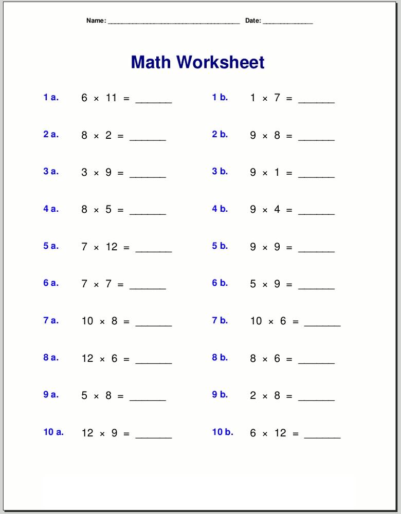 time tables worksheet grade 4