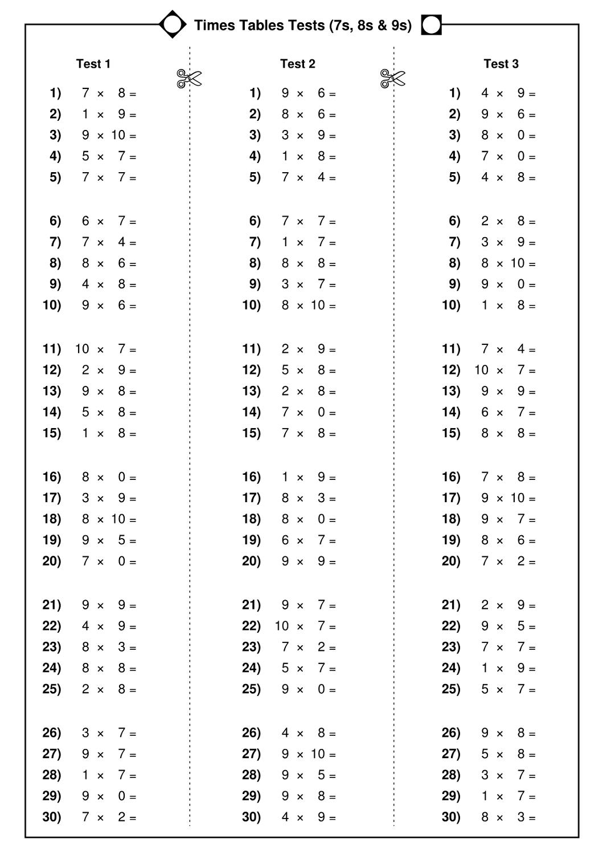 time tables worksheet test