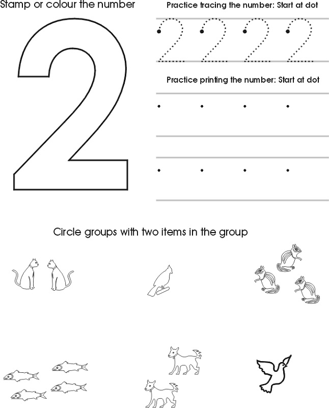 two year old worksheets number