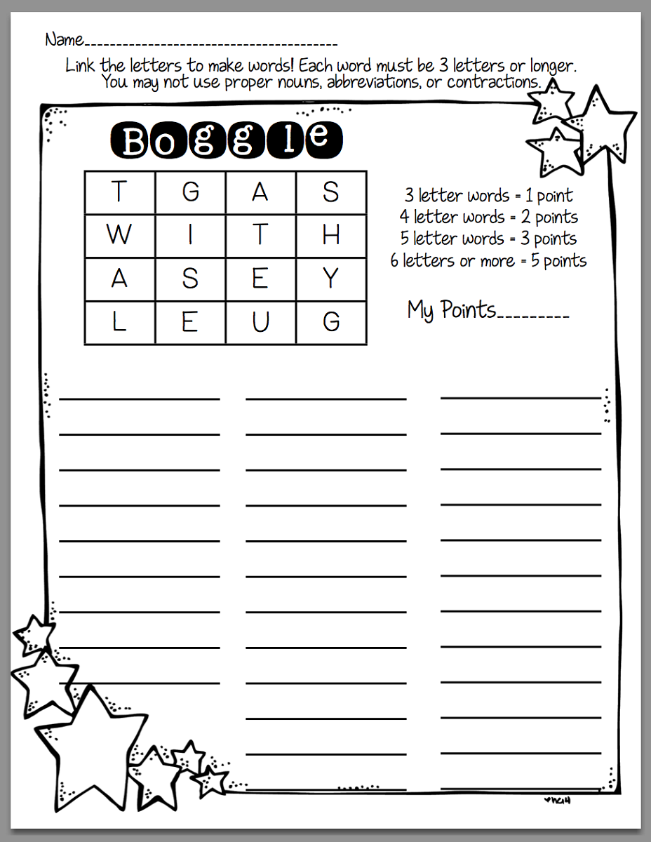 boggle word game printable