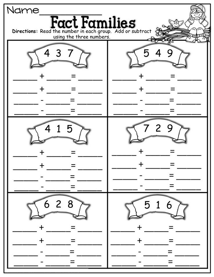 fact families worksheets first grade printable