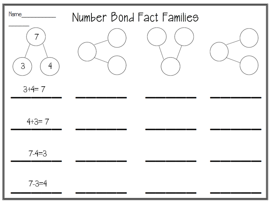 fact family numbers worksheet
