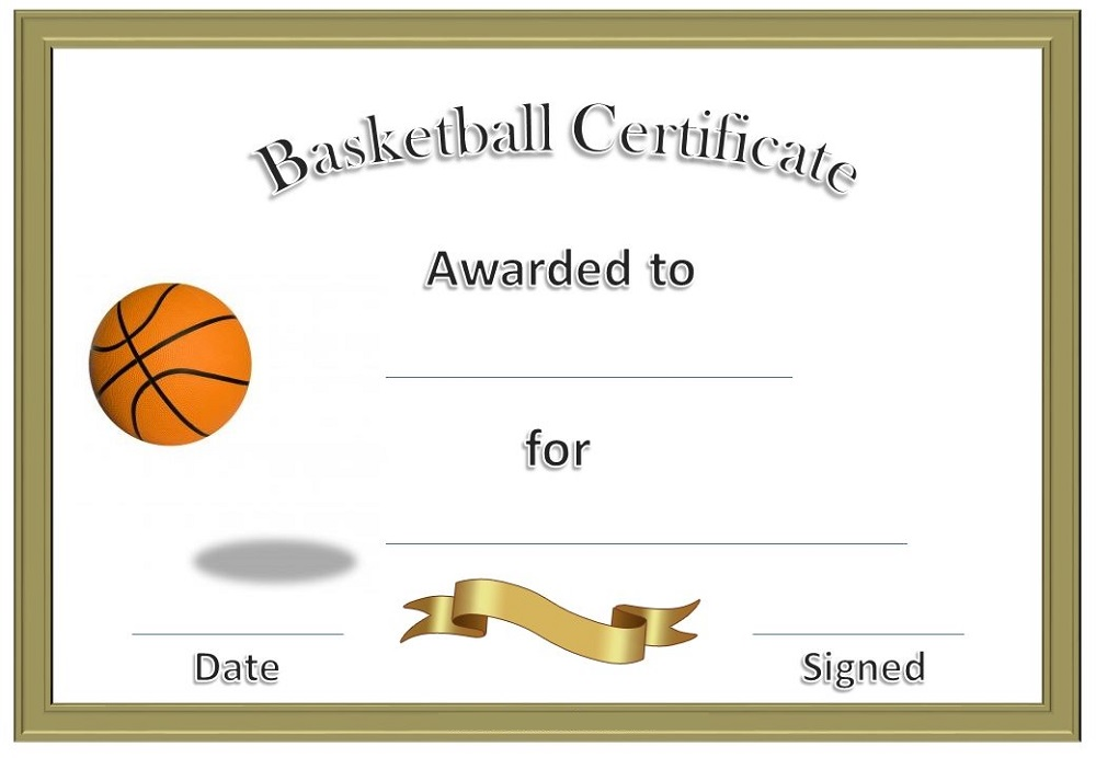 Basketball certificate Certificates  Free Printable