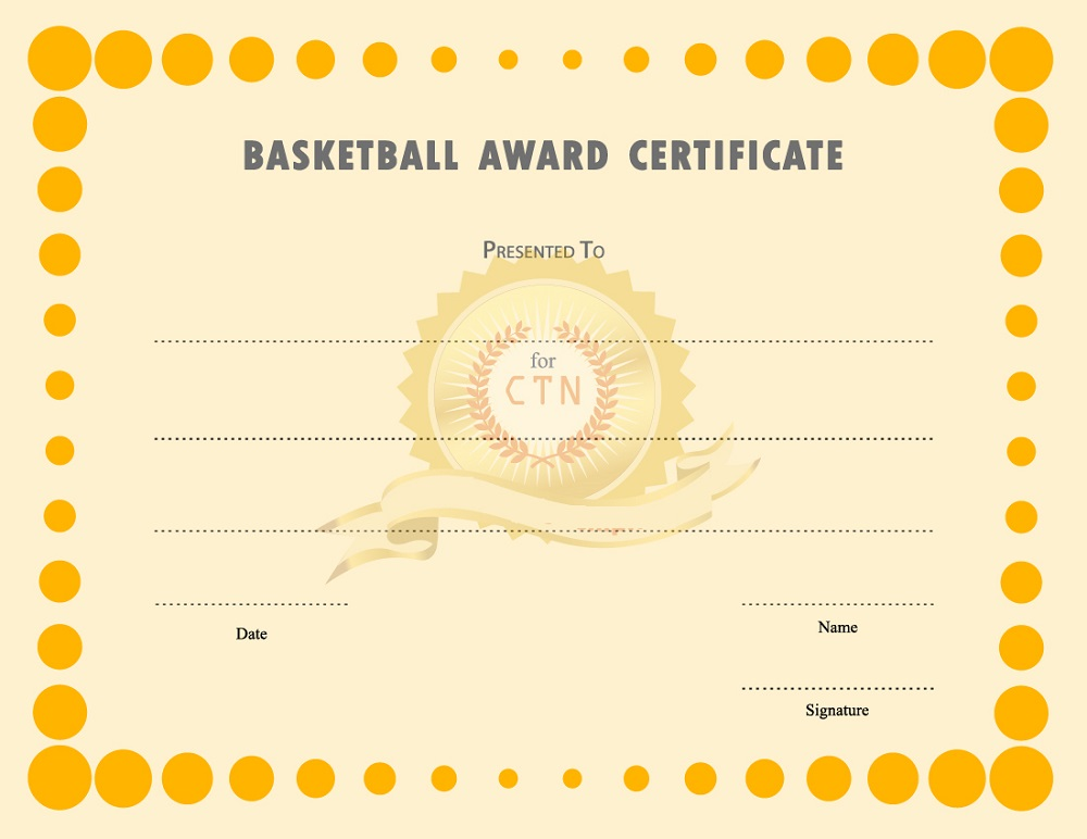 free basketball certificates template