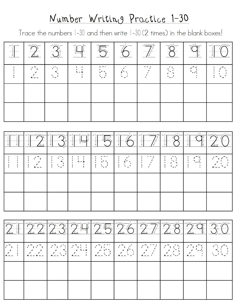 free printable kindergarten number worksheets fun