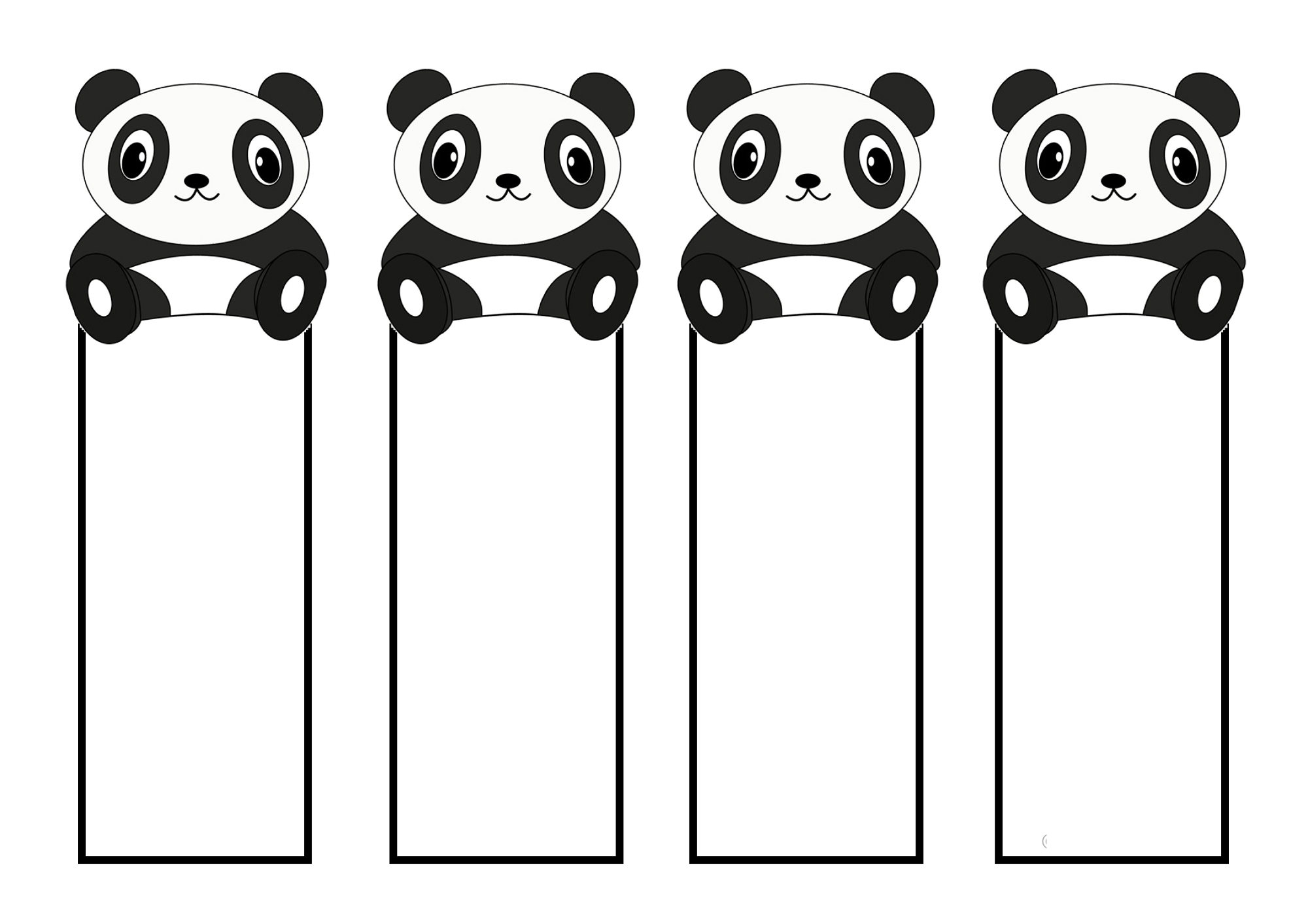 free printable reading bookmarks black and white panda