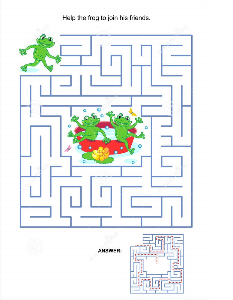 frog activities for kids maze